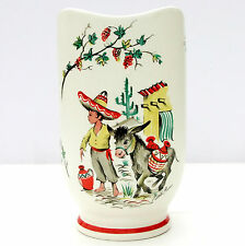 Vintage Retro 1950s Crown Ducal Ware Vase Mexican Boy Donkey Kitsch