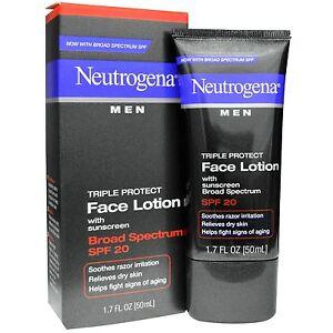 Neutrogena Men Triple Protect Face Lotion SPF 20 - 1.7 oz  (3 PACK)