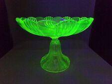 Coupe à fruit compotier PORTIEUX verre ouraline uranium glass