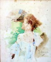 TORSE DE FEMME. AQUARELLE SUR PAPIER. F.(FRANCISCO) MASRIERA. ESPAGNE.CIRCA 1870