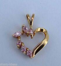 Ladies Man-Made Marquise Pink Diamond Heart Pendant  - 10K  Yellow Gold