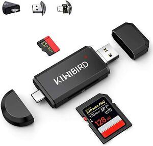 KiWiBiRD USB C USB 2.0 SD Micro SD Reader, Type-C Micro USB Memory Card Adapter