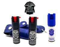 Police Magnum Pepper Spray 2 Pack 1/2oz Keychain B Holster Case w/Practice Spray