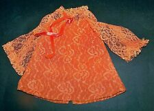 Vintage 1970's Ideal Crissy Doll Original Orange Lace Mini Dress EUC!