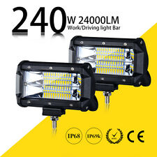 2Pcs 6inch 240W Dual Row CREE LED Work Light Bar Pod SPOT FLOOD Driving Beam