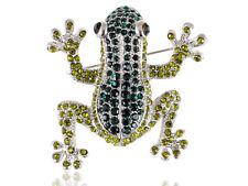 Alimarket Poison Dart Frog Fashion Peridot Diamante Rhines Pin Brooch Jewelry