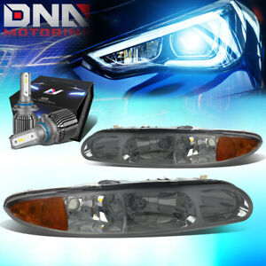 FOR 1999-2004 OLDSMOBILE ALERO OE STYLE HEADLIGHT LAMP W/LED KIT+COOL FAN SMOKED