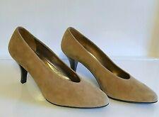 Vtg Anne Klein, Tan Beige Ecru, Suede Pumps, High Heels,Pointy Toe Shoes 8M, New