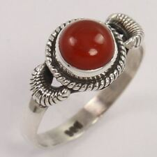 Unique 925 Solid Sterling Silver Ring Size US 7 Natural CARNELIAN Round Gemstone