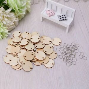 50Pcs Wooden Round Discs Slices Metal Ring For Birthday Board Calendar DIY Craft