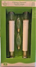 Holiday Time (2) Bethlehem / Moravian Style Window Candle Lamp W/ Brass Base
