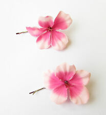 2 x Pink Hibiscus Flower Hair Grips Clips Bridesmaid Bobby Pins Slides Boho 2098
