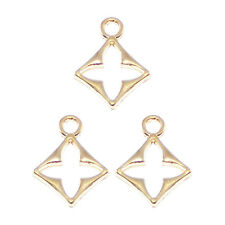 38pcs/lot Gold Color Alloy Hollow Flower Rhombus Charms Pendants Findings 39730
