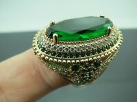 Turkish Handmade Jewelry 925 Sterling Silver Emerald Stone Ladies' Ring Sz 8