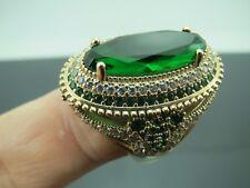 Turkish Handmade Jewelry 925 Sterling Silver Emerald Stone Ladies' Ring Sz 7