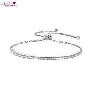 Adjustable Chain Bracelet For Women 925 Sterling Silver Round Cut White AAA Cz
