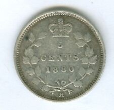 CANADA 1880-H FIVE CENT SILVER--CIRCULATED