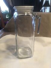 "Bormioli Rocco Italy Clear Glass Pitcher Carafe Vtg VGC 9"" Tall W/ Lid"