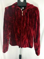 Vintage 80s Cache Red Crushed Velvet Zippered Jacket size 4