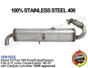 Exhaust muffler Smart ForTwo 450 0.6L 0.7L turbo 98-07 with Catalytic Converter