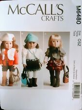 "NOP McCALL'S CRAFTS 18"" DOLL CLOTHES PATTERN VEST HAT BOOTS SKIRT PURSE BLOUSE"
