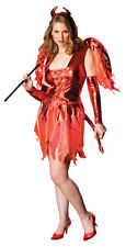 HALLOWEEN FANCY DRESS ~ LADIES DEVIL ON FIRE PLUS SIZE 14-16