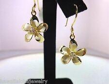 15mm Hawaiian 14k Yellow Gold Over Silver Satin Plumeria 3 CZ Dangle Earrings #2