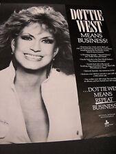 DOTTIE WEST Means Business! 1987 PROMO POSTER AD mint