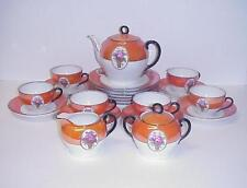 VICTORIA SCHMIDT & CO. ORANGE TEA SET TEA POT SUGAR CREAMER CUPS SAUCERS
