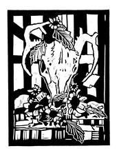 """MEMENTO MORI"" original linocut..handsigned edition 25.. mjonesart"