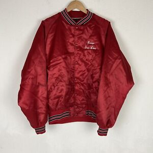 VTG Red Satin Bomber Marching Band Jacket Sz XL Made in USA Dunbrooke