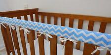 Baby Crib Cot Rail Cover Teething Pad - Baby Blue Chevron  ***REDUCED***