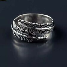 Beautiful 925 Sterling Silver Adjustable Feather Ring Leaf Statement Ring