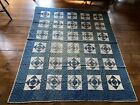 BEST+Early+Antique+Hand+Sewn+BLUE+Calico+Quilt+Textile++Green+Homespun+AAFA
