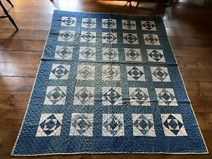 BEST Early Antique Hand Sewn BLUE Calico Quilt Textile  Green Homespun AAFA