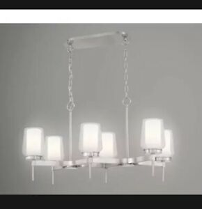 ¤EASYLITE 6-LIGHT BRUSHED NICKEL CHANDELIER WITH WHITE GLASS SHADES ¤