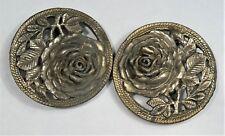 "Antique Metal Ladies Belt Buckle with ROSE Decorations - for 3/4"" belt"