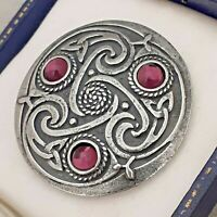 Vintage Amethyst Purple Cabochon - Scottish Celtic Knot Round Pewter Brooch Pin