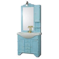 Mobile bagno classico azzurro decapè shabby lavabo ceramica specchiera applique
