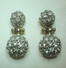 Gold tone and clear crystal double round drop earrings on posts