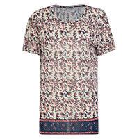 LADIES TOPS SHORT SLEEVE WOMENS T SHIRT TOP FLOWERS PRINT UK 12 14 16 18 BNWT