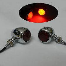 Red LED Lens 3 Wires Chrome Billet  Brake Turn Signal Indicator Light Motorcycle
