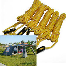 4x Yellow Reflective Guyline Tent Tarp Rope Guy Line Camping Cord Guide New