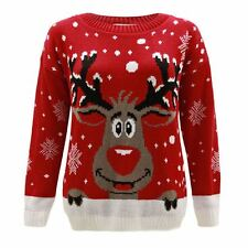 Kids Girls Boy Knitted Reindeer Christmas Rudolf Xmas Novelty Jumper Sweater Top 11-12 Years Red