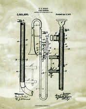 Musical Instruments Patent Poster Art Print Trombone Band Sheet Music PAT81