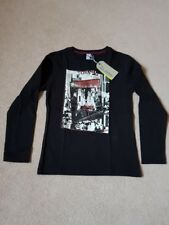 BNWT 3 Pommes Tokyo Graphic Black Long Sleeve T Shirt Age 7-8 RRP £20