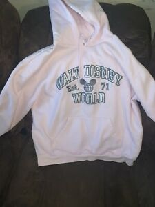 Mickey Mouse Disney Womens Hoodie Pink Gray Pullover Stretch Drawstring XL
