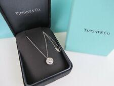"Tiffany Platinum .26 ctw diamond halo circle 8.75 mm pendant 16"" chain necklace"