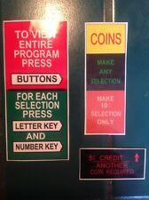 JUKEBOX SEEBURG VL200   COIN AND INSTRUCTION PLASTICS 3 PIECES