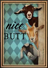 Vintage Goat Farmhouse Poste, Goat Nice Butt Poster, Funny Nice Butt Bathroom